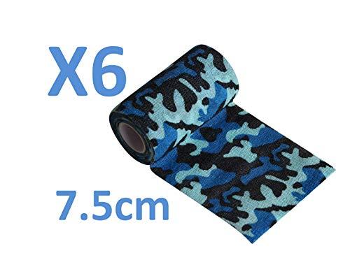 Keine schlechte Haftung mehr. Selbstklebende Bandage, 6 Rollen x 7,5 cm x 4,5 m, selbsthaftende Bandagen, professionelle Qualität, Erste-Hilfe-Sport-Bandagen, Blau Perfekt für die Jagd -