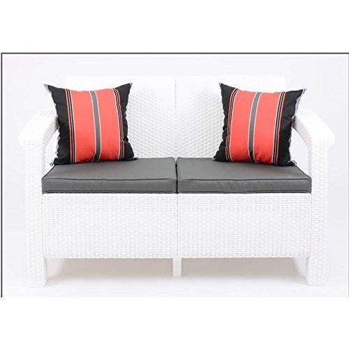 JUSTyou Corfu Sofa Couch Gartenbank + Tisch in Rattan-Optik Weiß Grau - 2