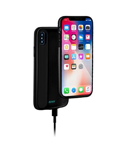 Lusenbo Battery Case for iPhone X/XS Akku Hülle, 3000mAh Wiederaufladbar Erweitert Akku-Ladekoffer Tragbar Power Bank Schützend Abdeckung Aufladefall Verlängert Backup - Black