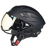 ZXW Motorrad Elektro Helm Männer Und Frauen Vier Jahreszeiten Universal Braun Objektiv Schutzhelm (Farbe : Sub-black, größe : 30x24x18cm)