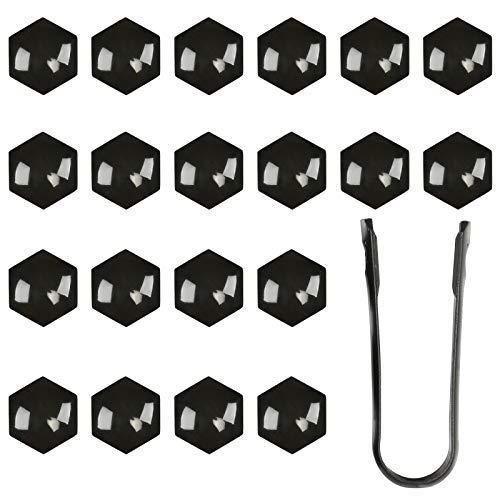 LIHAO 20 Capuchons de Boulon 17mm Couvre de Écrous de Voiture, Capsules Hexagonal en Plastique Noir avec Outil de Démontage