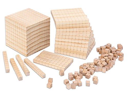 Betzold-95084-Dienes-Material-Zehnersystemsatz-Holz-Wrfel-Dezimalsystem-121-teilig-Mathematik-Grundschule
