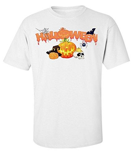 Halloween Kürbis lustige t-shirt herren baumwoll weiss (Jake Und Finn Halloween)