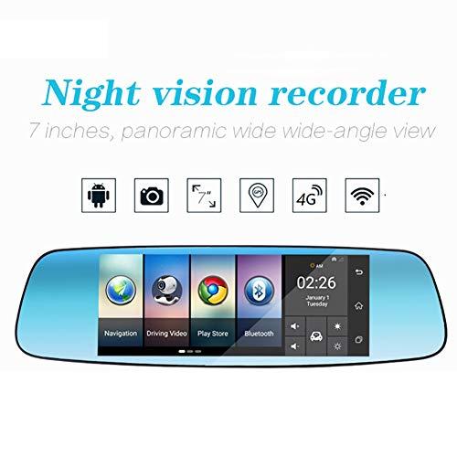 QAX Dashcam Auto Dash Camera Full HD 7-Zoll-Rückspiegel der Recorder 4G Auto DVRAndroid-System GPS-Navigation Bluetooth-Freisprecheinrichtung 140 ° Weitwinkel Ruft