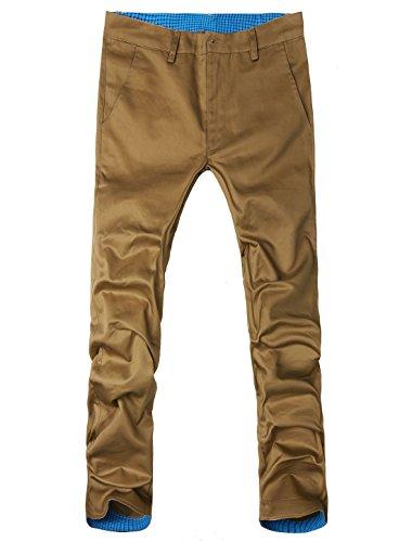Allegra K Jambe Droite Décontracté Impression Carreaux Fermeture Éclair Pantalon Cargo pour hommes Kaki