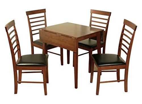 Bois Massif foncé Ensemble de Salle à Manger – Bois Dur foncé Table à Manger Extensible avec 4 chaises – Meubles de Salle à Manger