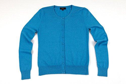 Linenstowelsquilts Ritz Collection femmes col rond - 100%  cachemire Cardigan Bleu - Turquoise