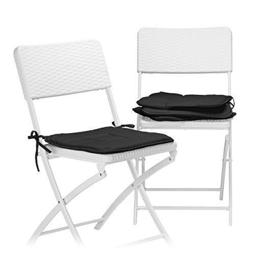 Relaxdays Stuhlkissen 4er Set, Sitzkissen mit Schleife, Auflage für Stühle in Haus und Garten,...