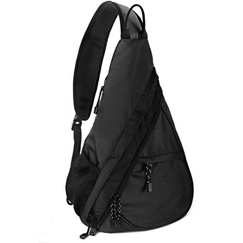 Unigear Sling-Rucksack, Sling Bag Schulterrucksack Umhängetasche Daypack Crossbag mit Verstellbarem Schultergurt Perfekt für Outdoorsport, Wandern, Radfahren, Schule (Schwarz)