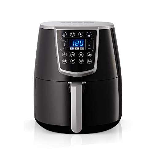 Gemlux Air Fryer | Multikocher für gesunde Snacks & Mahlzeiten | Heißluftfritteuse für zu Hause | Tragbar & für professionellen Einsatz geeignet | Für Spülmaschine & Geschirrtrockner geeignet
