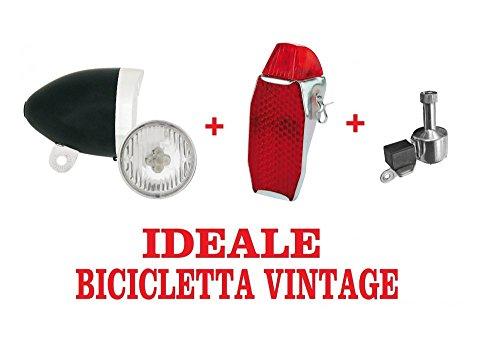 Kit Fanale Luce Anteriore + Luce Posteriore In Ferro + Dinamo Bicicletta - FILI COMPRESI