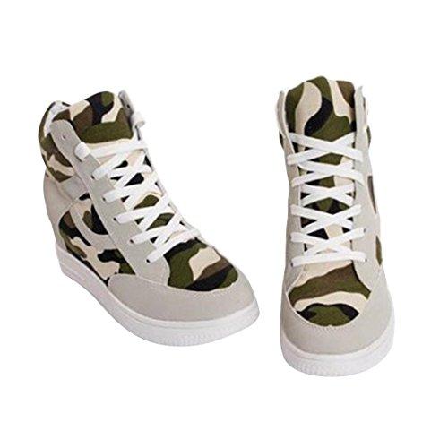 jeansian Moda Donna Casuale Tela Piattaforma Incunearsi Scarpe da Ginnastica Wedge Sneakers WSB014 Beige 37
