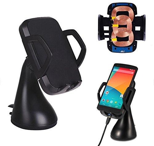 LingsFire Induktives Ladegerät Dual Kfz Halterung Set Qi Ladegerät Induktionsladegerät Qi induktive Ladestation mit 3 Induktionsspulen Autoladegerät Kfz Ladegerät QI Kabellose 360°drehbar Handy mount holder windschield Handyhalter Handyhalterung Auto Halter für Samsung Galaxy S6 / S6 Edge,HTC M9,Nexus 5, Nexus 4, Nokia Lumia 920, MOTO Droid Mini, LG G3, HTC Droid DNA, HTC Rzound, Blackberry Z30, Pentax, Samsung, Google, LG, HTC sowie andere Qi-fähige Handys und Tablets