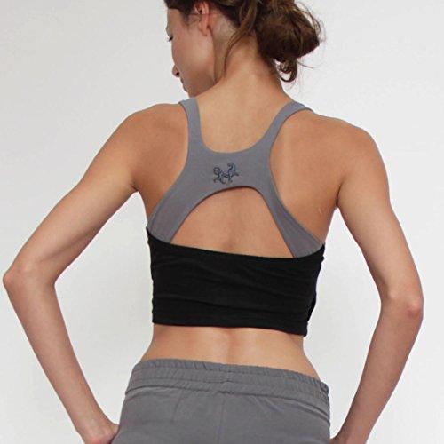 Prancing Leopard Damen Yoga BH KOOS aus Bio Baumwolle - Fitness Cropped Tank mit Integriertem BH Charcoal Black