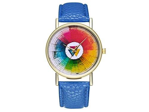 HOUHOUNNPO Reloj de Moda Retro Redondo Swatches Reloj de Mujer Hombres Regalo de cumpleaños (Azul Real)