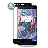 E-Hamii Protector de Pantalla Compatible con OnePlus 3[Negro],[Alta definición][Anti arañazos],Cristal Templado 3D,[Respuesta Sensible][Instalación sin Burbujas]