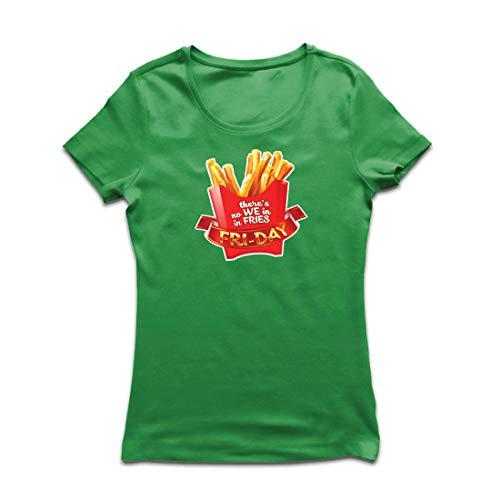 irt Es gibt Keine wir in Pommes Freitag Outfit Junk Food Liebhaber (X-Large Grün Mehrfarben) ()