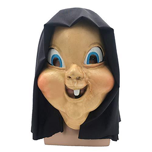 TULADUO Latex Kopfmasken, Happy Death Day Dämon Monster Grimasse Geist Geisterhaus Halloween-Kostüm Horror Zombie Lustige Unheimlich Gruselig Kostüm