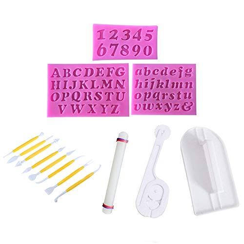 Juego de 14 herramientas de decoración de fondant Simuer 3 moldes de silicona con forma de número...