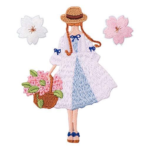 XUNHUI Mädchen und Kirschblüten Blume Patches bestickt Kleidung DIY 3 Stück -