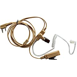 Haito 2 Pin Beige Color de la piel Covert Acoustic Tube Auricular Headset Mic para Kenwood Puxing Wouxun Radio Security Door Supervisor