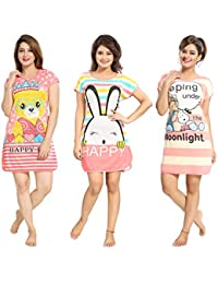 TUCUTE® Girtl s Women s Hosiery Short Cartoon Print Nighty Night Wear Lounge  Wear e88f93b79