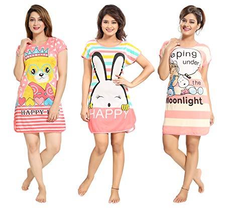 Tucute Women's Hosiery Short Cartoon Print Nighty/Night Wear/Lounge Wear (Pack of 3)- Assorted Print