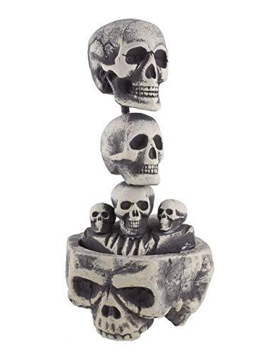 n Dekoration Deko Säule Turm aus Skelett Totenköpfen, 60cm, Pillar Tower of Skulls, ideal für Jede Halloween Party / Feier, Grau ()