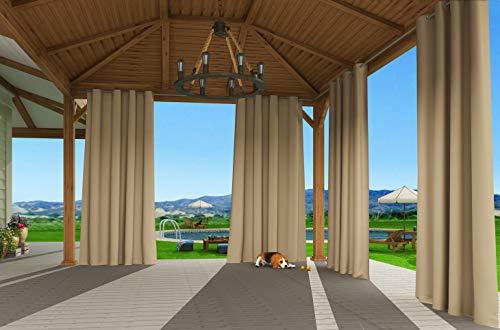 Clothink Outdoor Vorhänge mit Ösen 132x245cm Beige - Winddicht Wasserdicht Verdunkelungsvorhänge, Mehltau beständig, für Gartenlauben Balkon, Strandhaus Vorhalle, Pergola, Cabana