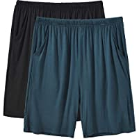 JINSHI Men's 2 Pack Stretch Pajama Shorts with Drawstring Elastic Waist Sleep Shorts(M,Black/Lake Blue)
