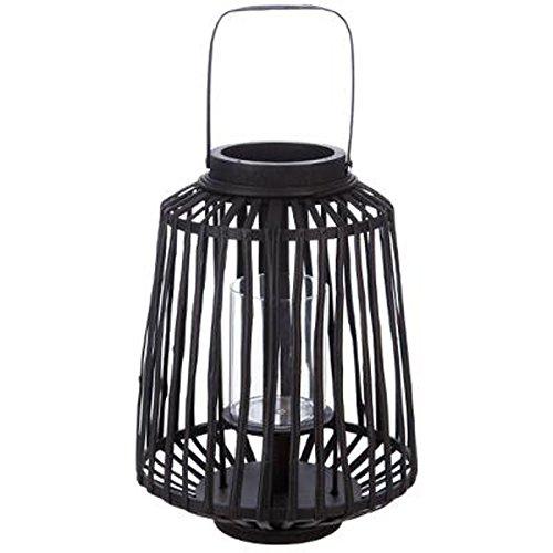 Paris Prix - Lanterne Design Rattan 35cm Noir