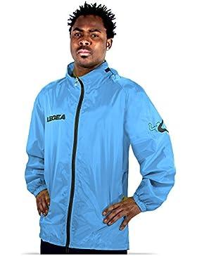 Legea Cairo Tuono resistente al viento con capucha chaqueta de manga larga, verde, color Celeste/Grigio Scuro,...