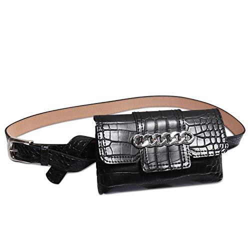 DORRISO Mode Damen Gürteltasche Leder Bauchtasche Umhängetasche Kette Schultertasche Gestepptes Leder Mini Handy Tasche Schwarz B -