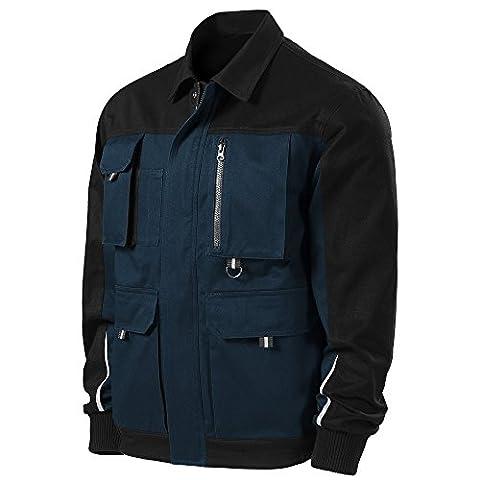 Herren Arbeitsjacke mit multifunktionalen Taschen - Reflektionsstreifen - mehrere Farben - NEU bis XXL (W51 - Navy - M)