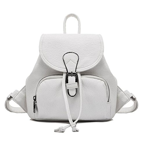WU Zhi Ladies Travel Zaino Spalle Drawstring In Pelle Morbida Mini Borsa Scatola Scuola White