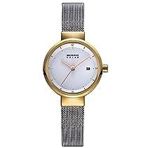 Bering Armbanduhr Damenuhr Solaruhr - Slimline - Analoge Uhr mit Datum, silbernem Edelstahlarmband und silbernem Zifferblatt - 50m/5atm - 14426-010