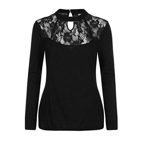 Camicia Donna Rcool sexy pieno pizzo Camicetta Maglietta Maglia pullover manica lunga Top T shirt, più dimensione Nero