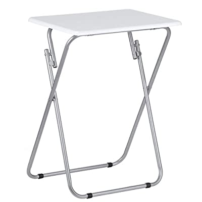 FOLD - Gloss Folding TV / Craft Table - White / Silver - low-cost UK light shop.
