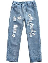 Guiran Niñas Vaqueros Denim Pantalones Rectos Chica Rotos Cintura Elástica Jeans Azul/150CM 11-12 años