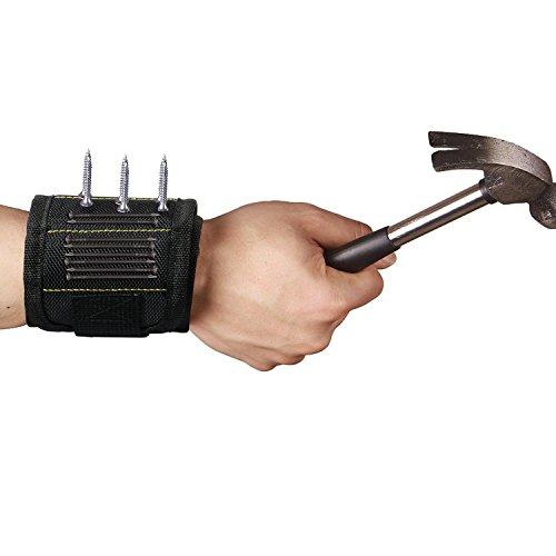EXTSUD Bracciale Magnetico Lavoro con 5 Forti Magneti Organizzatore Polsiera Porta Viti Cacciaviti Chiodi Punte di Trapano Braccialetto per Utensili Bricolage Fai da Te Regalo per Uomo Marito Padre - 4