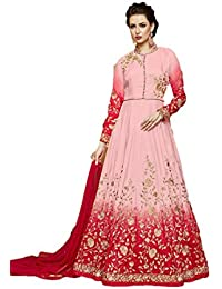 Readymade Pink & Shaded Red Bhagalpuri Silk Anarkali Gown (party Wear Dress For Girls Party Wear Gown Dress Girls...