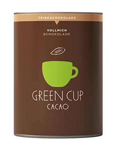 Green Cup Vollmilch - edle heiße Vollmilch Kakao Trinkschokolade - echte feine Kakaobohnen aus der Dominikanischen Republik - Premium Flocken Schokolade - 227g Dose