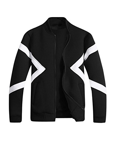 M (US 38) , Black : Generic Men Stand Collar Long Sleeves Contrast Color Jacket