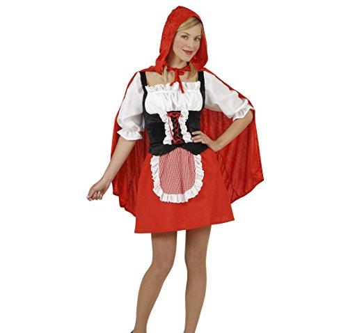 Widmann 5749C - Erwachsenenkostüm Rotes Mäntelchen, Bluse mit Korsett, Rock mit Schürze und Umhang mit Kapuze, Größe XL