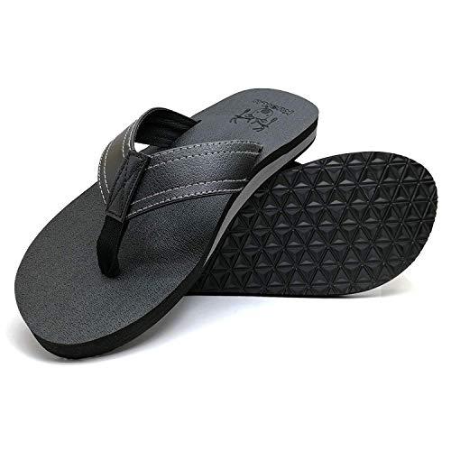 abaaea216e76b KuaiLu Mens Yoga Foam Flip Flops Arch Support Non Slip Leather Thong Sandals  Black