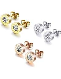 O'range-zi Pendientes de Acero Inoxidable Arete (3 Pares) para Hombres y Mujeres – Pendiente del Perno Prisionero Piercing antialérgico Diamante de imitación 8mm (3 Pares)
