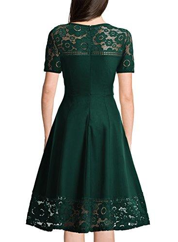 Miusol Damen Elegant Abendkleid Spitzenkleid Rundhals Vintage 1950er Faltenrock Cocktailkleid Gruen Gr.XXL -
