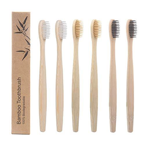 Vordas 6er Pack Bambus Zahnbürsten Weich, Bambus Zahnbürsten für Weiße und Gesunde Zähne