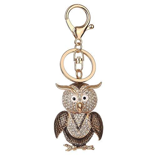 Porte-clés strass en cristal, Chickwin Cute Hibou de mode Sac à main Porte-clés (Café)