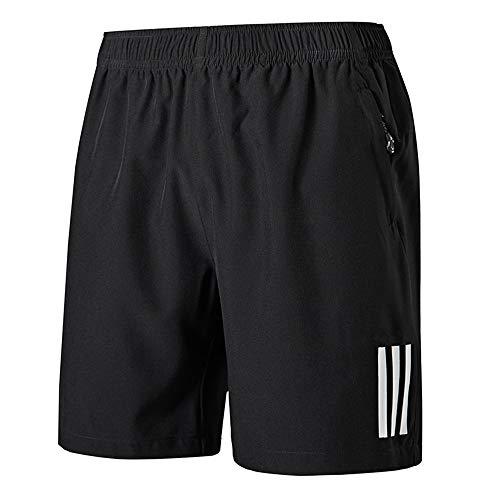 Sport Shorts (CHYU Sporthose Kurz Herren Soft Comfort Schnelltrocknend mit Reißverschlusstasche Sport Shorts Jogginghos (Reines Schwarz, XL))